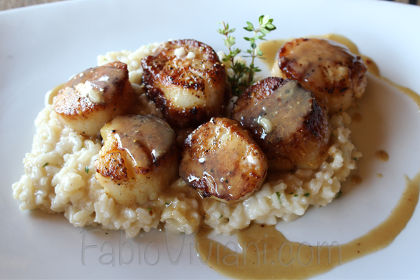 Seared Scallops Over Wilted Spinach And Parmesan Risotto Recipes ...