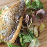 Grilled Bass with Cracked Pepper Endive