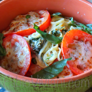 Basil Linguine with Pecorino broiled Tomatoes