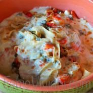 Baked Fettucini with Mozzarella and Roasted Peppers