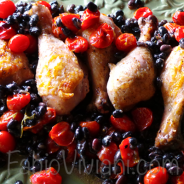 Chicken Drumsticks on Black Beans