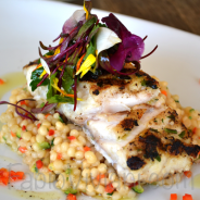 Grilled Corvina Sea Bass, Israeli Couscous Risotto