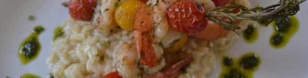 Limincello Risotto, Rosemary Skewered Shrimp and Tomatoes