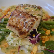 Ling Cod, Sunchoke Puree, Almond Green Beans