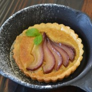 Wine Poached Pears and Pinenuts Hazelnut Tart