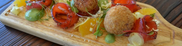 Cured SalmoN WITH Beets Arancini