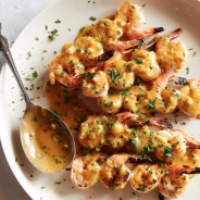 Grilled shrimp with basil and orange sauce