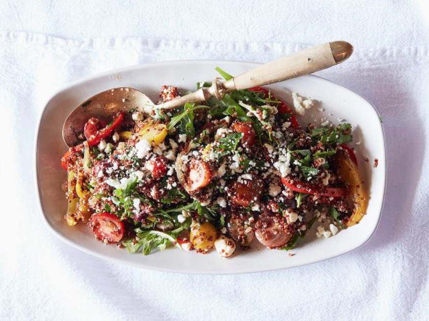 Blistered sweet pepper and marinated feta salad with arugula and quinoa
