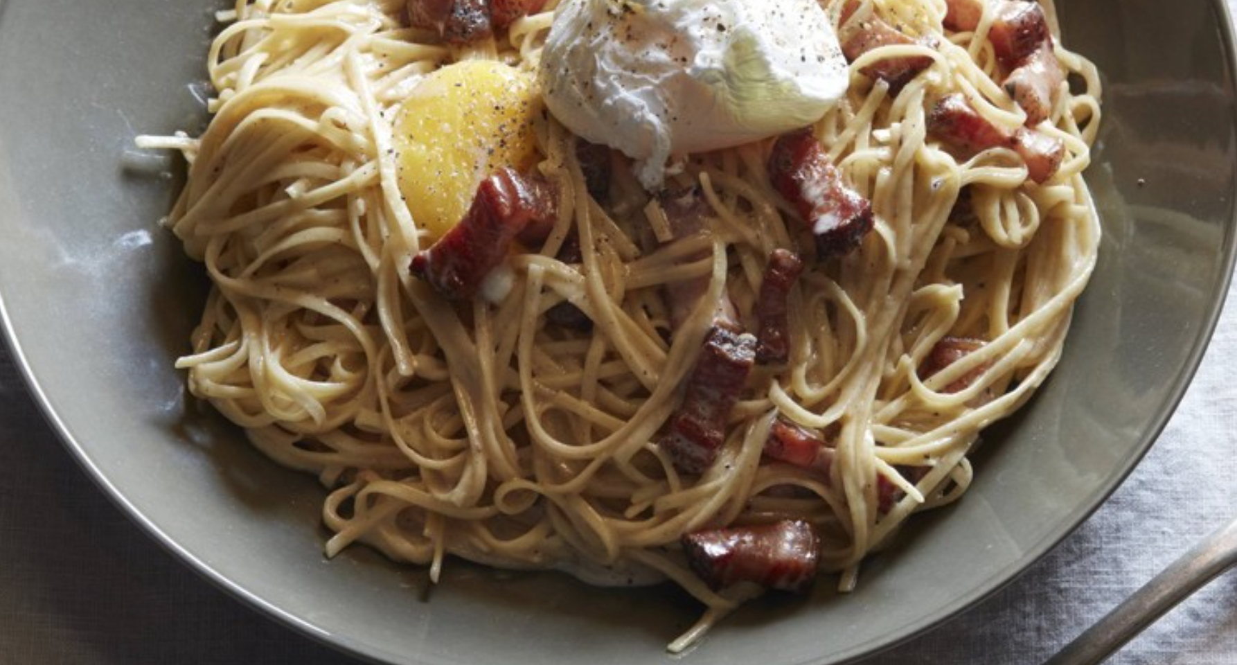 Linguine with Crispy Guanciale and Creamy Poached Egg