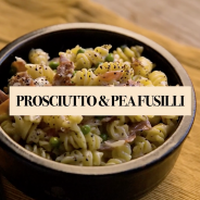 Fusilli with Prosciutto and Peas