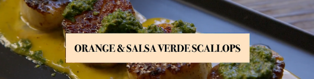 Orange Salsa Verde Scallops